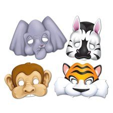 Jungle Animal Paper Masks ezpartyzone.com $4 per 4