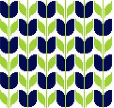 This modern cross stitch pattern of retro blue tulips is clearly inspired by Mid Century floral design. Its an easy repeat embroidery chart that can be embroidered as a single flower for a very small project or repeated as often as you like to cover larger surfaces such as cushion