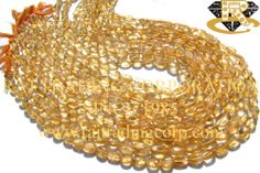 Citrine Smooth Oval (Quality B) Shape: Oval Smooth Length: 36 cm Weight Approx: 9 to 11 Grms. Size Approx: 4.5x6 to 6x8 mm Price $4.20 Each Strand