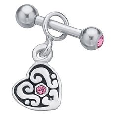 Pink CZ Celtic Heart Dangle .925 Sterling Silver Dangle Cartilage Earring Stud at FreshTrends.com