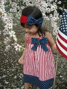 Halter Patriotic 4th of July Girl Dress by AllissonsCreations, $24.00 4th-of-july