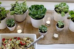 Burlap Table Runner, tea lights, and cacti in white pots-absolutely love!