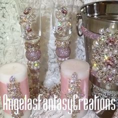 Press ️ and  at all the  In this set we used #pink #pearls and #rosegold  To order your custom items call 818-817-7575 all budgets welcome and we are not over priced  #candles #candle #champagnebucket #champagne #icebucket #glasses #champagneglasses #champagneflutes #champagnebottle #memorybottlle #serverset #cakeknife #wedding #weddingday #evwntplanning #bridetobe
