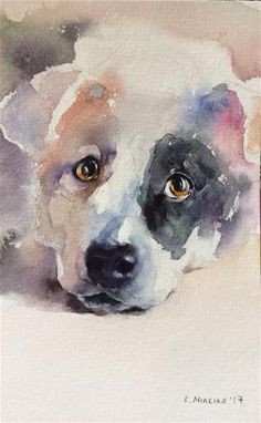 "Daily Paintworks - 8x5"" ""adopt234"" - Watercolor Original Fine Art for Sale © Katya Minkina♥♥"