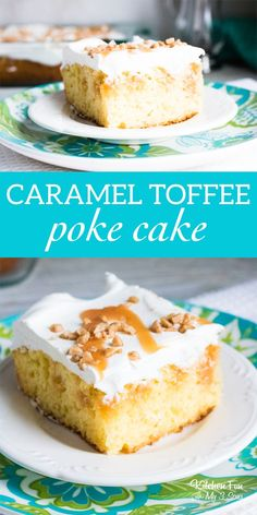 This Caramel Toffee Poke Cake recipe is delicious. #caramel #toffee #pokecake #cake #yummy #food #foodblogger #baking #recipe #dessert