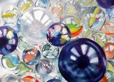Marble mayhem, painted by Sharon Douglas in watercolours. www.sharondouglas.weebly.com