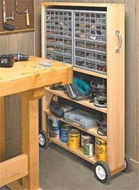 DIY: Pull-Out Storage Case, use existing bookcase long drill bit to feed axel thru wood or reinforce bottom with another board, could this work for pc stuff, cleaning supplies or shoes, what about lining up/stacking a row of shelves or shoes? cover up with curtain? or inside a closet on the side against the wall, what about short bookcases, in the bathroom closet or under the sinks, love this!