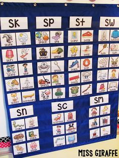 S blends pocket chart center materials that are super fun and colorful - so many things you can do with these for beginning blends activities Art Therapy Activities, Phonics Activities, Reading Activities, Teaching Reading, Guided Reading, Teaching Kids, Learning Phonics, English Activities, Learning Tools