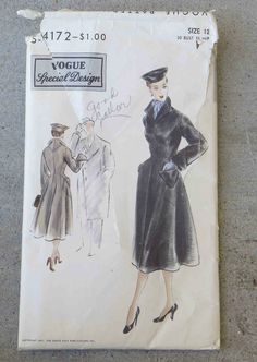 Vintage  Early 1950s  Vogue Special Design Fit & Flare Coat Pattern    FF 30