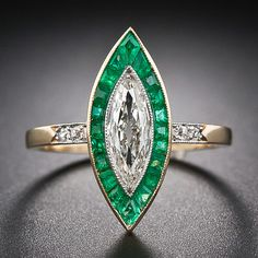 French Marquise Diamond and Calibre Emerald Ring - 10-1-5532 - Lang Antiques