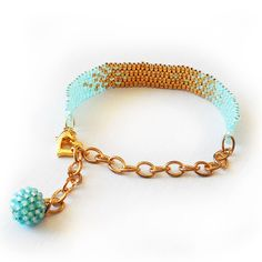 Ombre Bracelet with Blue and Gold Glass Beads Beadwork