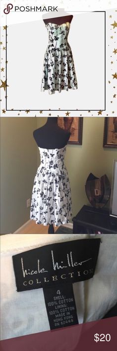 Nicole Miller Strapless Dress Beautiful dress. Light and stylish. Flower print. 100% cotton in very good condition.                                     Offers welcome. No trade Nicole Miller Dresses Strapless