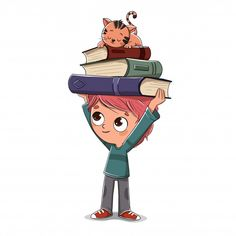 Boy with books and a cat sleeping Teacher Posters, Animated Clipart, Children's Book Characters, Small Cat, Art Station, Cat Sleeping, Children Images, Illustration Sketches, Cartoon Wallpaper