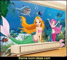 Underwater World aquarium dimensional cartoon mermaid mural wallpaper