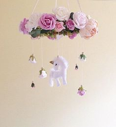 Baby mobile unicorn baby mobile floral mobile nursery