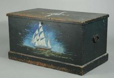 Sailor's chest in original blue paint, with hand-forged iron handles and hinges.