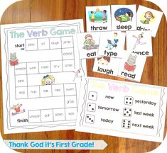 Verb games: charades and a board game to practice using the correct verb tense. These and lots more activities for the first grade common core language standards!