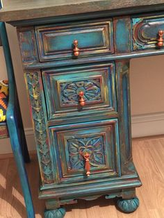 SOLD Turquoise blue desk boho furniture Secretary desk bohemian painted furniture office storage SOLD Turquoise blue desk boho furniture Secretary desk bohemian painted furniture office storage Could be a pretty way to redo old antique desk Blue Desk, Boho Furniture, Cool Furniture, Paint Furniture, Painted Desk, Desk Furniture, Diy Furniture, Painted Furniture, Redo Furniture