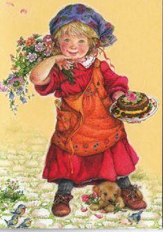 a birthday cake 1 Sarah Kay, Vintage Cards, Vintage Postcards, Scandinavian Kids, Baby Congratulations Card, Armenian Culture, Christmas Artwork, Cosy Christmas, Holly Hobbie