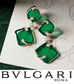 """Cut from a single 400-carat gem, these striking green emeralds mirror the vitality of sculpted evergreens #Bulgari#BulgariRoma #HighJewellery…"""