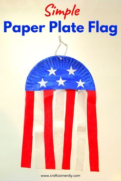 Learn how to make an American flag banner using a paper plate, tissue paper and paint. This easy kids craft makes a festive decoration for Memorial Day or of July. 4th July Crafts, Fourth Of July Crafts For Kids, Patriotic Crafts, Easy Crafts For Kids, Crafts To Make, Summer Crafts For Preschoolers, Paper Plate Crafts For Kids, American Flag Banner, American Flag Crafts