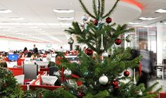 Silver and red decorations on a real Christmas Tree enhance the office and plant pot reds and strengthen the company brand image. Newbury UK