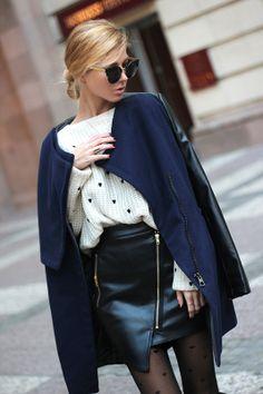 Hello November: Coat- Banggood, sweater- Sheinside http://www.sheinside.com/Beige-Long-Sleeve-Hearts-Embroidered-Crop-Sweater-p-145745-cat-1734.html  cat eye sunglasses- Choies http://www.choies.com/product/half-frame-angular-cat-eye-sunglasses skirt- Infiniteen  http://www.infiniteen.com/dresses/567-asymmetric-zip-imitated-leather-skirt.html
