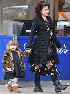 helena bonham carter street style -This is the kind of mommy-look I want if I ever have kids.