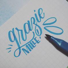 #letteringitalia #brushpen #artlinestix #blue #cute #italian #handlettering #brushlettering #brushcalligraphy #grazie #thankyou #typegang #goodtype
