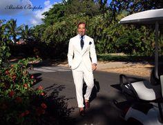 White linen Suit / Traje lino blanco by Absolute Bespoke. Casa de campo, Rep. Dominicana