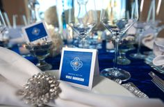 Beautiful modern blue place card with pearl accent