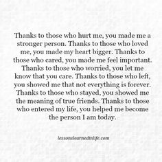 Lessons Learned in Life | Thanks.