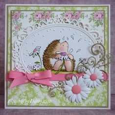 love Penny Black's hedgehog.  This is a beautiful card.
