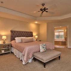 Massive complete with En Suite Bath with jetted tub, stand alone shower, and his & here walk-in closets! Devonshire Dr, Roaring Brook Twp, PA listed with . Master Bedroom Design, Master Suite, Master Bathroom, Living Room Trends, Living Spaces, Jetted Tub, Temporary Wall, Colorful Chairs, Furniture Arrangement