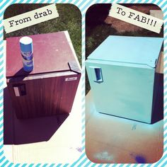 Paint your old mini fridge to give it new life and add a pop of color to the room!