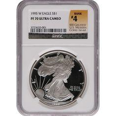 1995-W Silver American Eagle PR70 UC NGC 100 Greatest Label