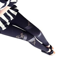 8cbc313a21 Women s Sexy Legging High Waist Lace Running Ninth Pants Lace Leggings