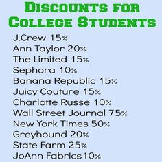 Discounts for College Students - #College, #Discount, #Student