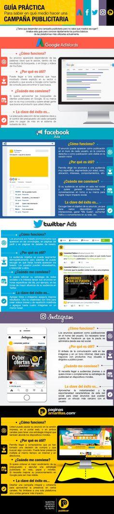 Hola: Una infografía con unaGuía práctica para elegir medio para campaña publicitaria. Vía Un saludo