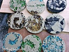 How to make crushed glass & tie dye concrete coasters
