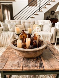 Join me on a blog hop tour - Fall Farmhouse Inspiration. See how Copper, Amber, Thrift Store & Flea Market flips, trash to treasure finds, DIY & craft projects, repurposed items and more come together for this years Fall Country Style. Tour includes Living Area, Kitchen and Dining Area of the Farmhouse. Colored Glass Bottles, Amber Bottles, Coloured Glass, Vintage Fall, Vintage Decor, Diy Plate Rack, Decorating Coffee Tables, Fall Decorating, Fall Dishes