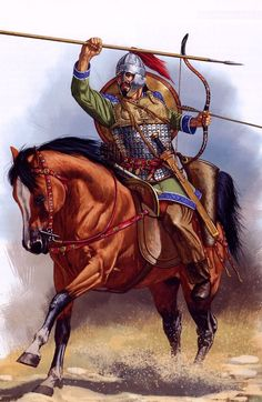 Roman horse archer VI century CE, by Johnny Shumate Military Art, Military History, Ancient Rome, Ancient History, Classical Antiquity, Roman Soldiers, Dark Ages, Roman Empire, Horses