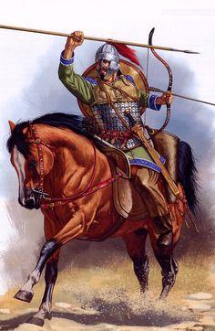 A Magyar warrior horseman.