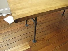 DIY Butcher Block Table using cast iron pipe legs