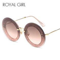 ROYAL GIRL Round Rimless Sunglasses