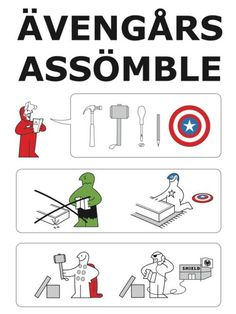 Ikea assembly instructions for The Avengers.  I wish this was a real thing.  #squishable #cutengeeky