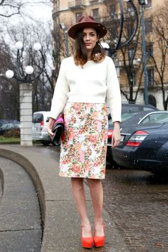 Eleonora Carisi's Best Street Looks -- Garden Variety --  A jaunty hat and bold platforms add some zing to Carisi's otherwise girly get-up.