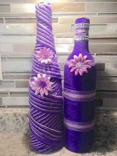 Twisted Purple Vases by HeavenlyChicDesigns on Etsy