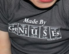 Periodic Table Onesie - MADE BY GENIUSES (Charcoal Gray) - Periodic Table Inspired Baby Creeper