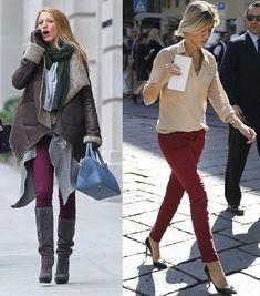 street style burgundy jeans